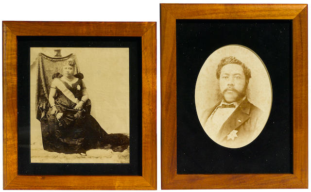 Photographs of King Kalakaua and Queen Lili'uokalani