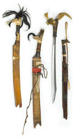 Four Dayak Swords, probably Kalimantan, Borneo Island