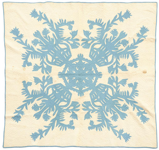 Blue and White Floral Quilt, Hawaiian Islands