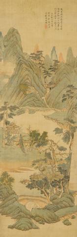 Zhou Xun (1649-1729) Blue/Green Landscape, 1719