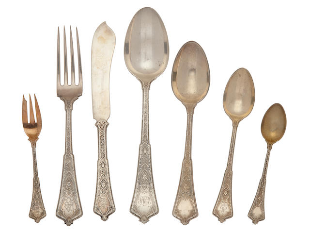 An assembled American  sterling silver  part flatware service by Tiffany & Co., New York, NY,  first half 20th century