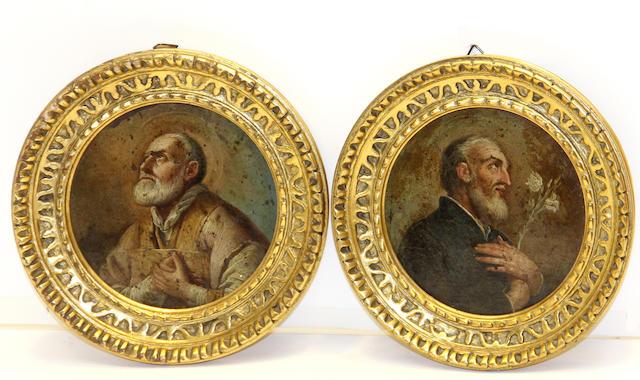Italian School 18th/19th centuryA pair of miniature portraits of male saints