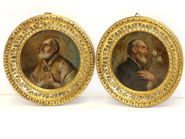 Italian School 18th/19th centuryA pair of miniature portraits of male saints