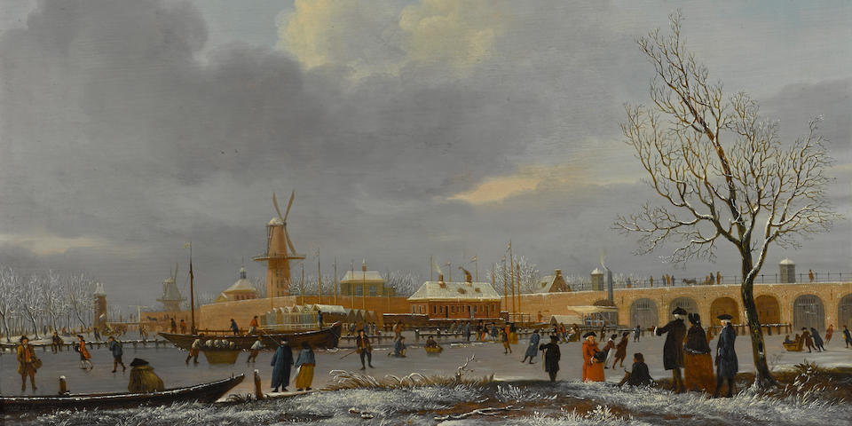 Jan Ekels the Elder (Amsterdam 1724-1781) A winter landscape with skaters on the Amstel 15 1/2 x 21 1/4in (39.3 x 54cm)