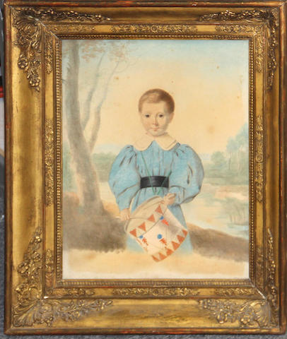 French School second quarter 19th centuryPortrait of a boy playing a drum