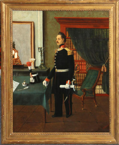 French School mid 19th centuryPortrait of an officer in a libraryoil on canvas
