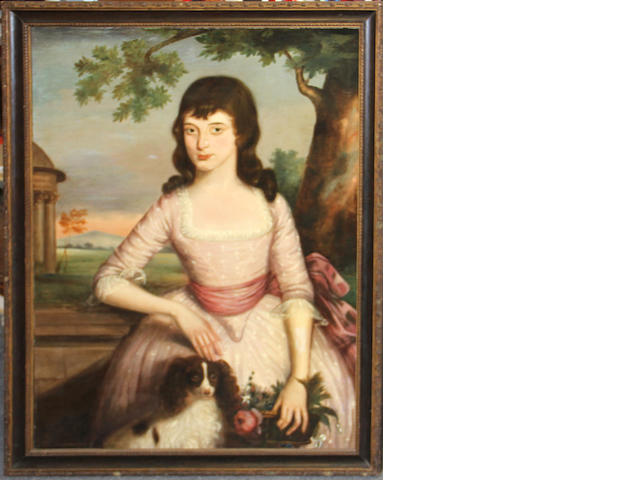English School second half 18th centuryPortrait of a girl with spaniel and basket of flowers oil on canvas