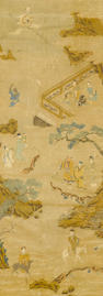 An embroidered silk panel 18th Century