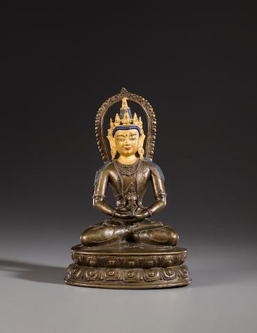 A copper alloy figure of Amitayus Tibet, 17th century