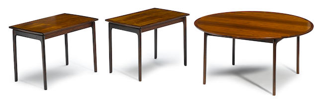 Three Ole Wanscher for Poul Jeppesen rosewood coffee tables