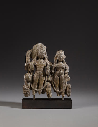 A schist stele of the holy family of Shiva Kashmir, 9th century