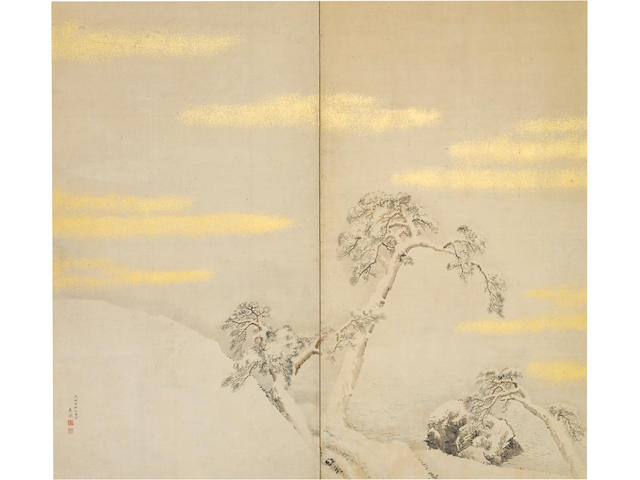 Circle of Maruyama Okyo (1733-95) Winter Landscape with Pine Trees