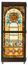 A pair of American leaded glass windows  early 20th century