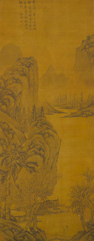 After Wen Zhengming Ink landscape, 19th century
