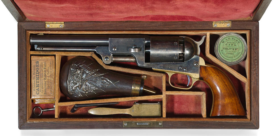 A cased Colt 3rd Model Dragoon percussion revolver with 8 inch barrel