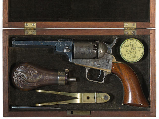 A cased and factory engraved Colt Model 1848 Baby Dragoon percussion revolver