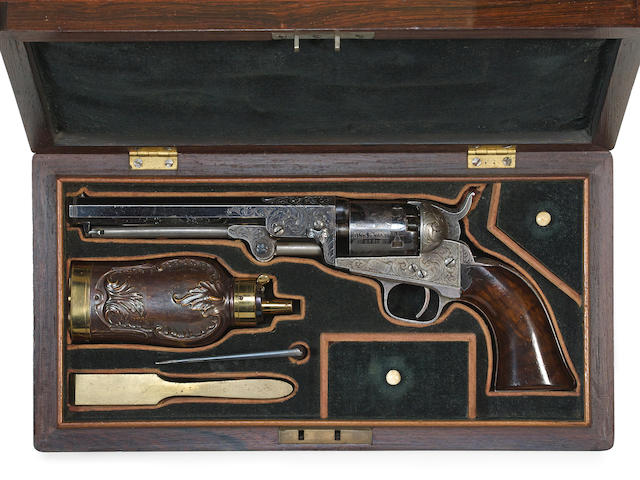 A cased and factory engraved Colt Model 1849 percussion pocket revolver
