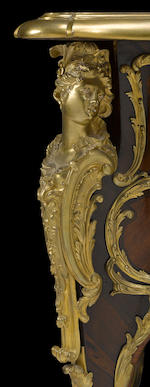A fine Louis XV style gilt bronze mounted kingwood and mahogany bureau plat after Charles CressentFrançois Linke or Antoine Kriegerlate 19th century