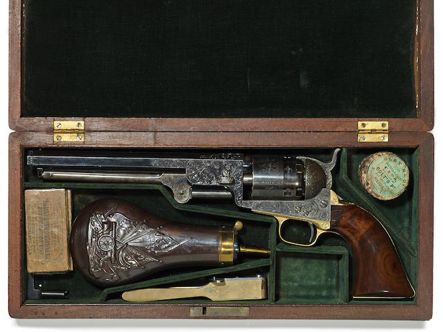 A deluxe cased Gustave Young engraved Colt Model 1851 Navy percussion revolver