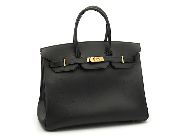 An Hermès black leather Birkin handbag