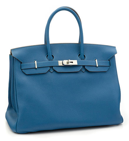 An Hermès blue leather Birkin handbag
