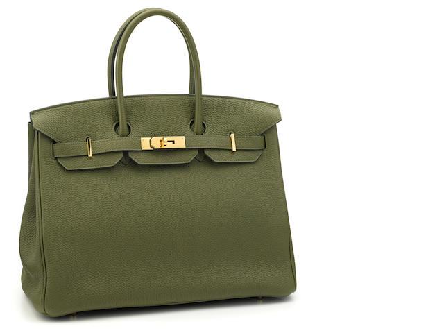 An Hermès green leather Birkin handbag
