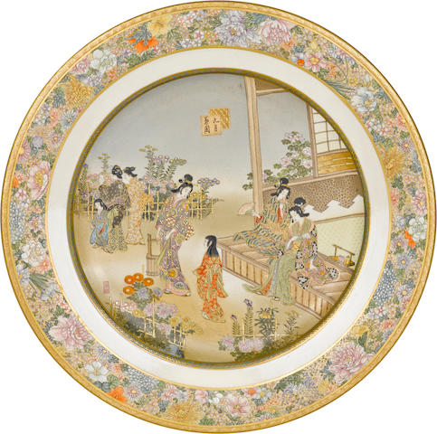 A fine set of twelve Satsuma plates By the Kinkozan workshop, Meiji period (late 19th century)