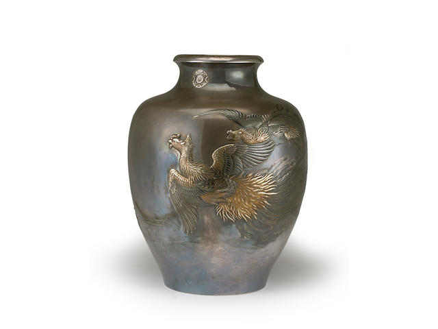 A fine silver presentation vase with mixed metal decoration By the Kobayashi Company, Meiji period (late 19th century)