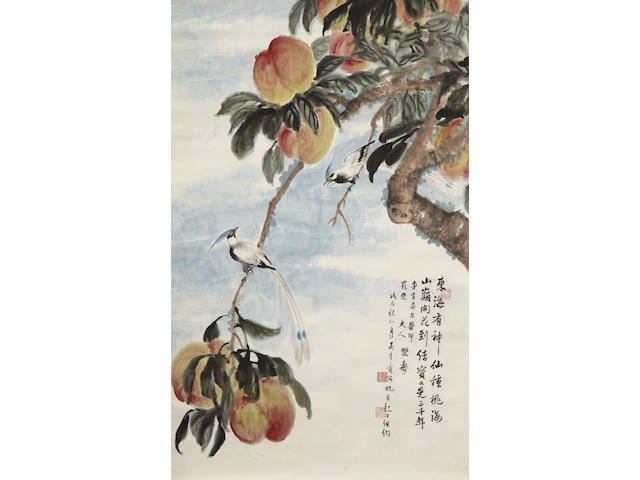 Wu Qingxia (1910-2008)  Peaches and Kingfishers