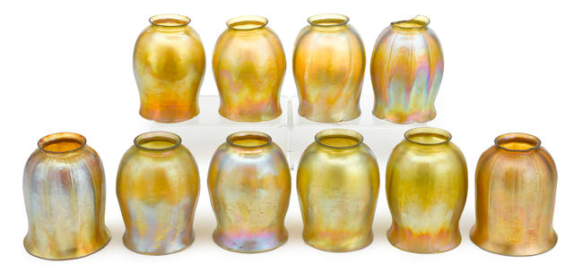 A group of nine Tiffany Studios Favrile glass shades early 20th century