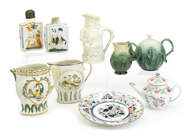 A group of English pottery table articles