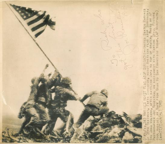 "ROSENTHAL, JOE. 1911-2006. ""The Raising of the Flag at Iwo Jima,"" original transmission print on ferrotyped paper, 273 x 355 mm"