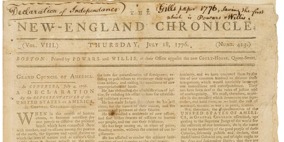DECLARATION OF INDEPENDENCE. The New-England Chronicle. Boston: Powars and Willis, July 18, 1776. No. 413.