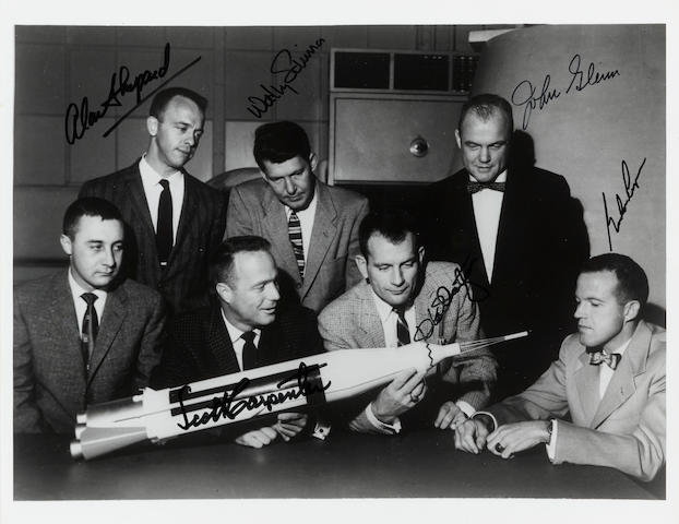 ORIGINAL MERCURY SEVEN—SIGNED BY SIX.