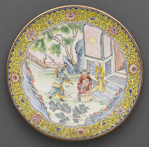 A Canton enameled deep dish Qianlong mark, Late Qing/Republic period