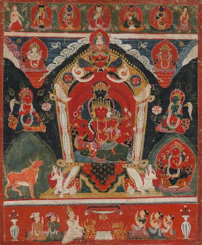A paubha of Maharagavajra Nepal, 19th century