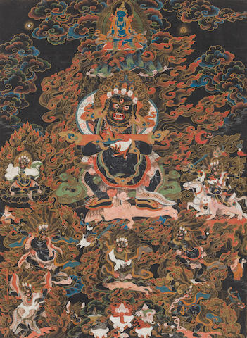 A black ground thangka of Panjaranatha Mahakala Tibet, circa 1800
