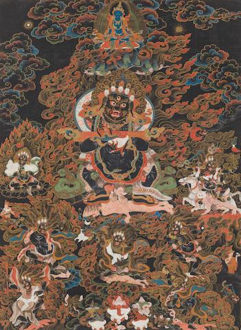 A black ground thangka of Panjaranatha Mahakala Tibet, circa 1800