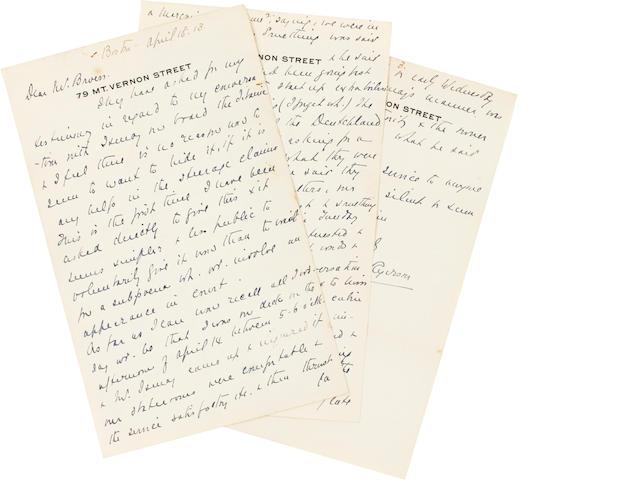 """TITANIC. RYERSON, EMILY BORIE. 1863-1939. Autograph Letter Signed (""""Emily Borie Ryerson""""),"""