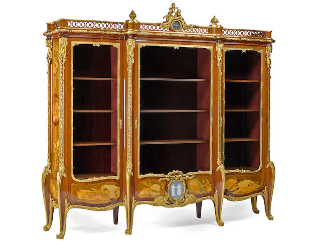An important Francois Linke gilt bronze mounted marquetry vitrine a trois portes, circa 1900
