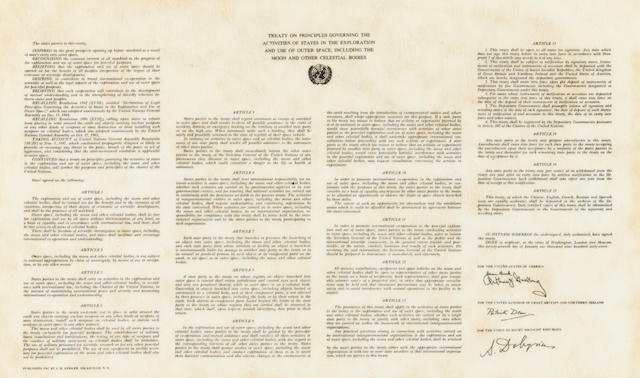 APOLLO 11 FLOWN SPACE TREATY.
