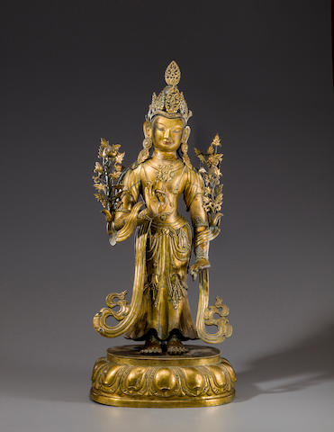 A large gilt repoussé figure of a bodhisattva Qing, Possibly Dolonor, 18th century