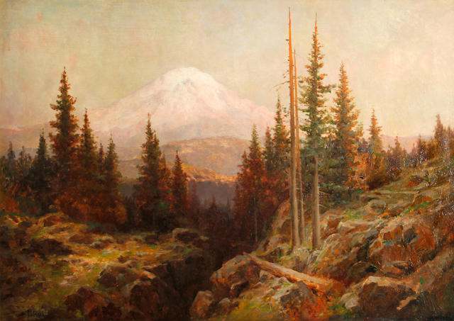 Attributed to Thomas Hill (American, 1829-1908) View of Mt. Shasta 23 7/8 x 34in