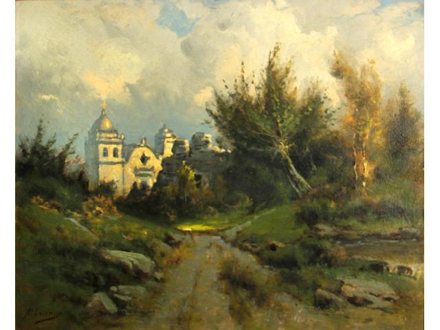 Manuel Valencia (American, 1856-1935) Carmel Mission 20 x 24in
