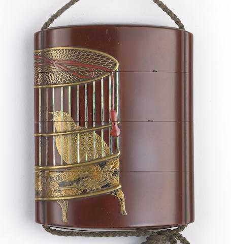 A three-case lacquer inro By Toyosai, Edo period (late 18th century)
