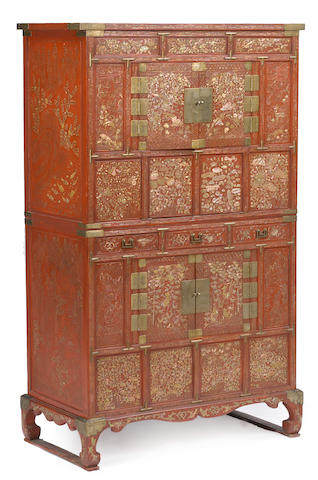 A red lacquered two-unit stacked chest with mother-of-pearl inlay, ich'ung nong