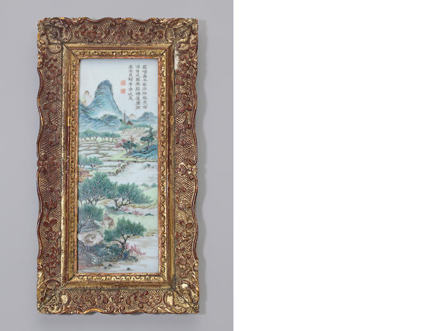 A famille rose enameled porcelain plaque Republic period