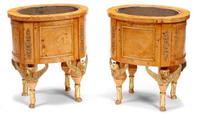 A pair of Empire style gilt metal mounted jardinières