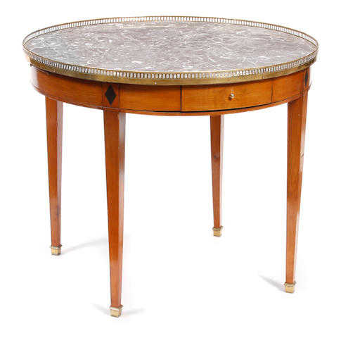 A Neoclassical style fruitwood and marble bouillotte table