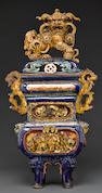A tall polychrome enameled pottery censer and cover Late Qing/Republic period